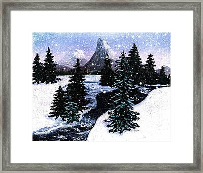 Snow And A Cold Mountain Brook Painterly  Framed Print by Barbara Griffin