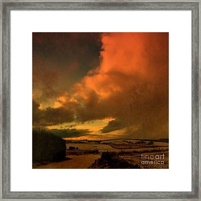 Snow And Fire Framed Print by Liz  Alderdice