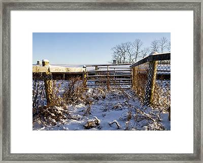 Snow And Gates  Framed Print by Tim Fitzwater