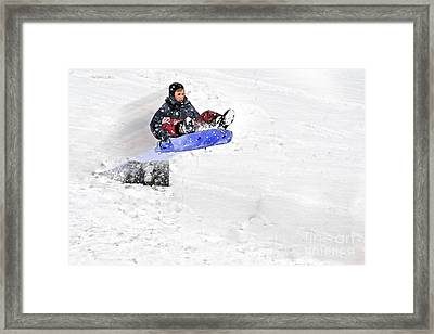Snow And Kids Framed Print by Dan Friend