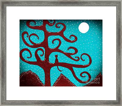 Snow And The Cattail Tree - A Series Framed Print by Barbara Griffin