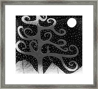 Snow And The Cattail Tree - A Series - Silver Framed Print