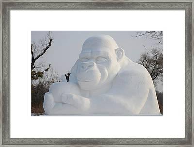 Snow Ape Framed Print by Brett Geyer