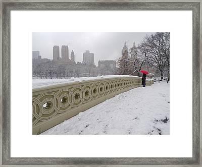 Snow At Bow Bridge Framed Print