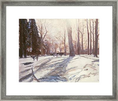 Snow At Broadlands Framed Print by Paul Stewart