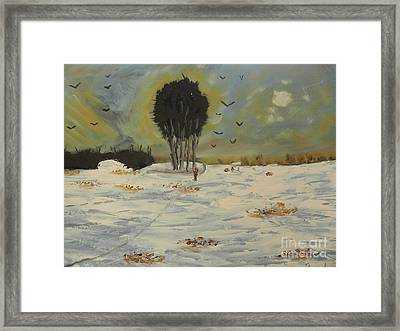 Framed Print featuring the painting Snow At Christmas by Pamela  Meredith
