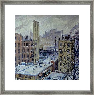 Snow At Dusk New York City Framed Print