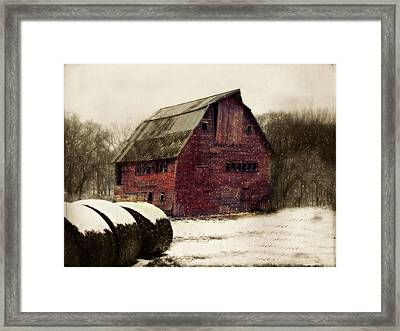 Snow Bales Framed Print
