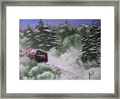 Snow Barn Framed Print by Collin A Clarke