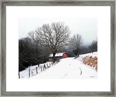 Snow Barn Red Door 2007 Framed Print
