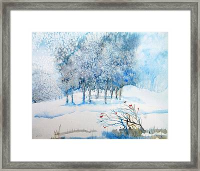 Snow Blizzard In The Grove  Framed Print