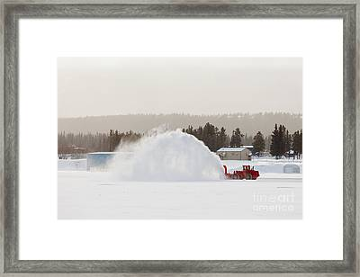 Snow Blower Clearing Road In Winter Storm Blizzard Framed Print by Stephan Pietzko