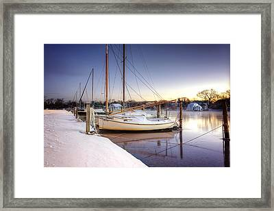 Snow Boats Framed Print by Vicki Jauron