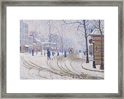 Snow  Boulevard De Clichy  Paris Framed Print by Paul Signac