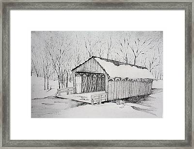 Snow Bridge 2012  Framed Print by Tammie Temple