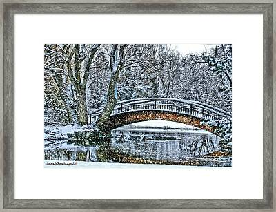Snow Bridge Framed Print by Rebecca Adams