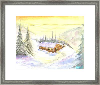 Snow Cabin Welcome Framed Print