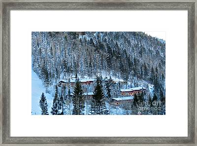 Snow Cabins Framed Print