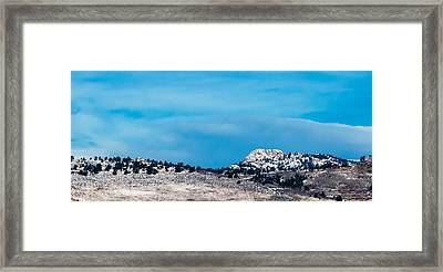 Snow-capped Horsetooth Rock Framed Print by Harry Strharsky