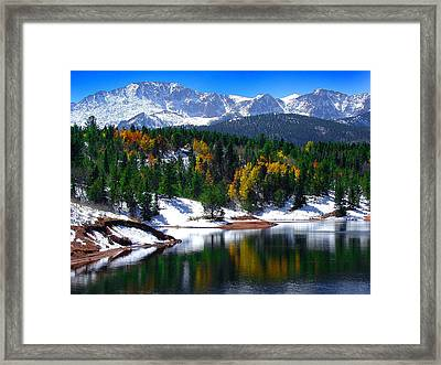 Snow Capped Pikes Peak At Crystal  Framed Print