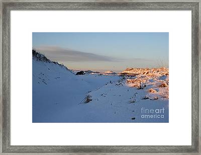 Snow Capped Sand Dunes Framed Print
