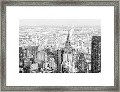 Snow - Chrysler Building And New York City Skyline Framed Print