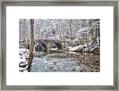 Snow Coming Down On The Wissahickon Creek Framed Print by Bill Cannon