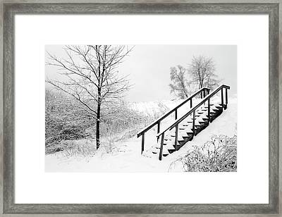 Snow Cover Stairs Framed Print