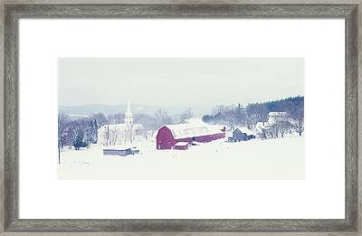 Snow Covered Barn And A Church Framed Print by Panoramic Images