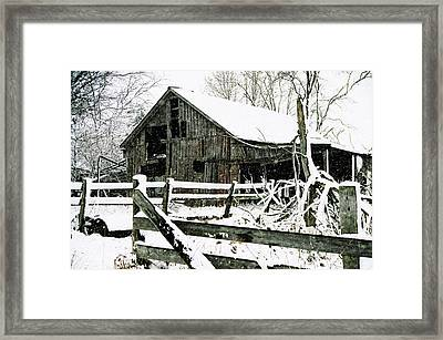Snow Covered Barn Framed Print by Kimberleigh Ladd
