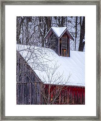Snow Covered Barn Framed Print