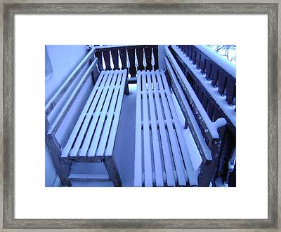 Snow Covered Bench Framed Print