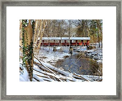 Snow Covered Bridge Framed Print by Janice Drew