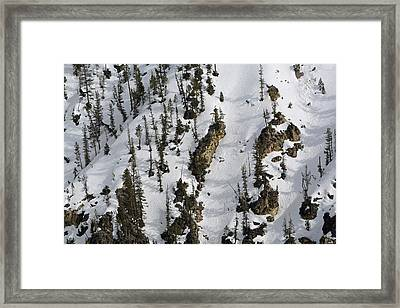 Snow-covered Canyon Walls In Yellowstone National Park Framed Print by Bruce Gourley