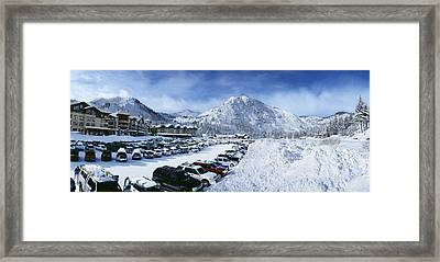 Snow Covered Cars In A Parking Lot Framed Print by Panoramic Images