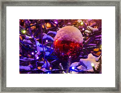 Snow Covered Christmas Tree And Red Ball With A Cup Of Snow - Featured 3 Framed Print by Alexander Senin