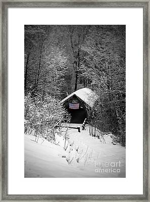 Snow Covered Covered Bridge  Framed Print by Edward Fielding