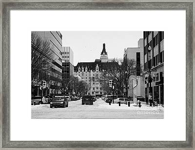 snow covered downtown Saskatoon Saskatchewan Canada Framed Print by Joe Fox