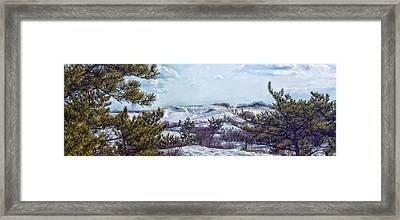 Framed Print featuring the photograph Snow Covered Dunes Photo Art by Constantine Gregory