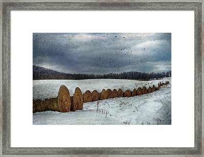 Snow Covered Hay Bales Framed Print by Kathy Jennings