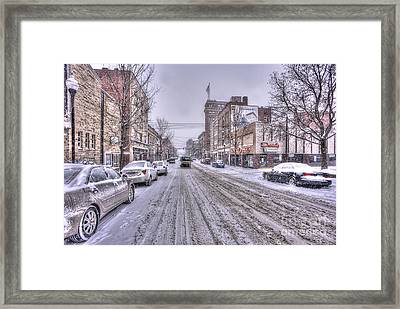 Snow Covered High Street And Cars In Morgantown Framed Print by Dan Friend