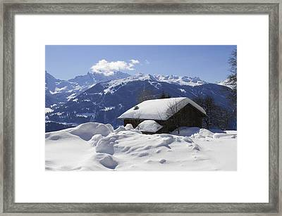 Snow-covered House In The Mountains In Winter Framed Print