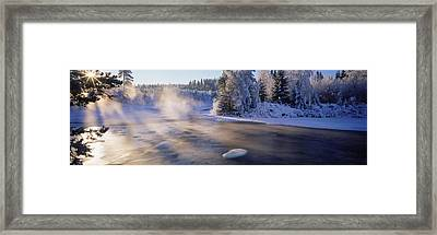 Snow Covered Laden Trees, Dal River Framed Print by Panoramic Images