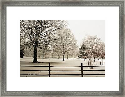 Snow-covered Landscape Framed Print by Ann Murphy