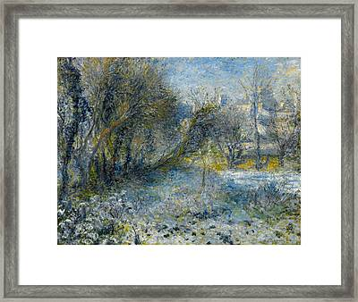 Snow-covered Landscape Framed Print by Pierre-Auguste Renoir