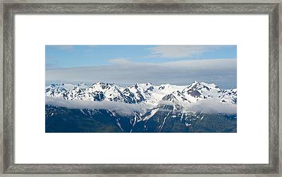Snow Covered Mountains, Hurricane Framed Print