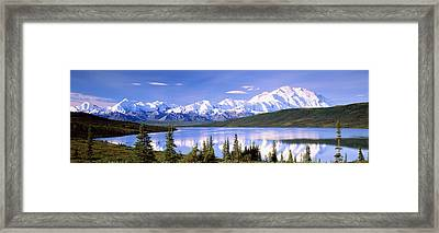 Snow Covered Mountains, Mountain Range Framed Print