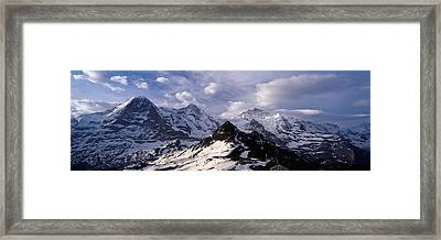 Snow Covered Mountains, Mt Eiger, Mt Framed Print by Panoramic Images