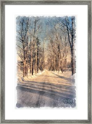 Snow Covered New England Road Framed Print by Edward Fielding