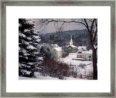 Snow Covered New England Winter Evening Framed Print